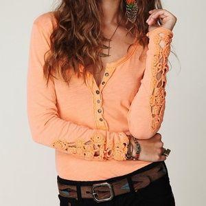 Free People Orange Crochet Cuff Henley